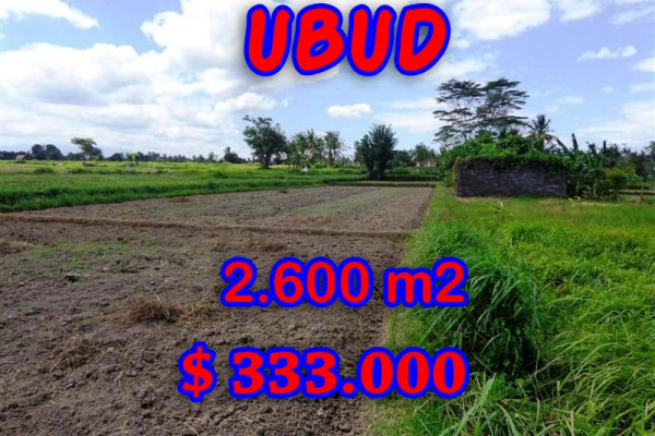 Land in Bali for sale, Excellent Property in Ubud Bali – 2,600 sqm @ $ 128