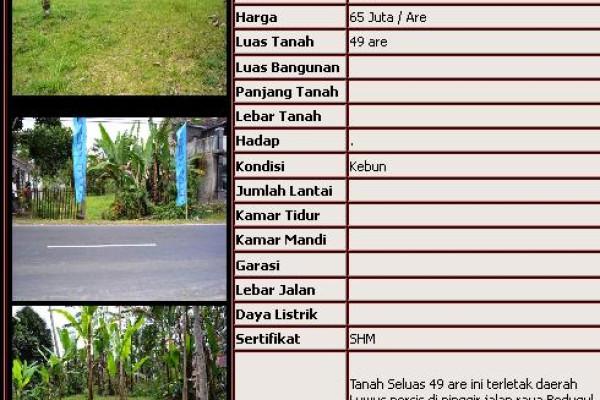 roadside land for sale in Bedugul – TJBE004