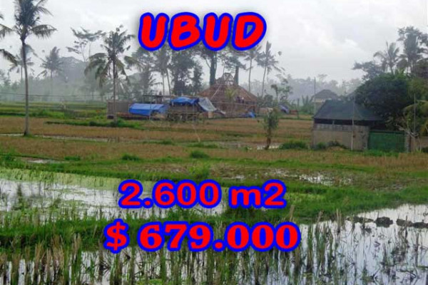 Land for sale in Bali, Outstanding view in Ubud Bali – 2.600 m2 @ $ 261