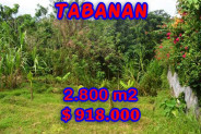 Land for sale in Bali, Exceptional view in Tabanan Bali – 2.800 m2 @ $ 39