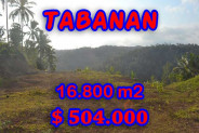 Attractive Property for sale in Bali, Tabanan land for sale – 16.800 m2 @ $ 39