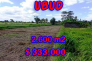 Land for sale in Bali, Magnificent view in Ubud Bali – 2,600 m2 @ $ 128