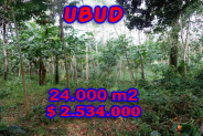 Land for sale in Bali, Exceptional view in Ubud Bali – 24.000 m2 @ $ 106